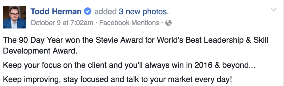 todd herman 90 day year stevie award announcement
